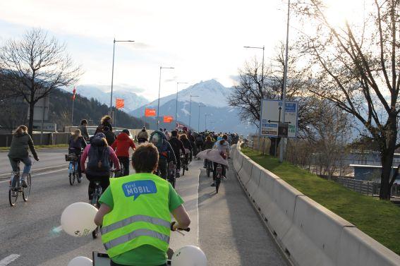 Radparade durch Innsbruck